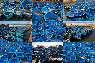 Collage of empty blue boats