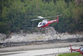 Temsco helicopter Taking off Skagway