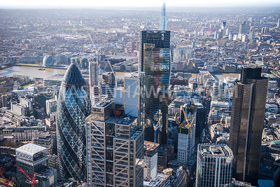 Aerial view of London, 30 St Mary's Axe and Heron Tower.