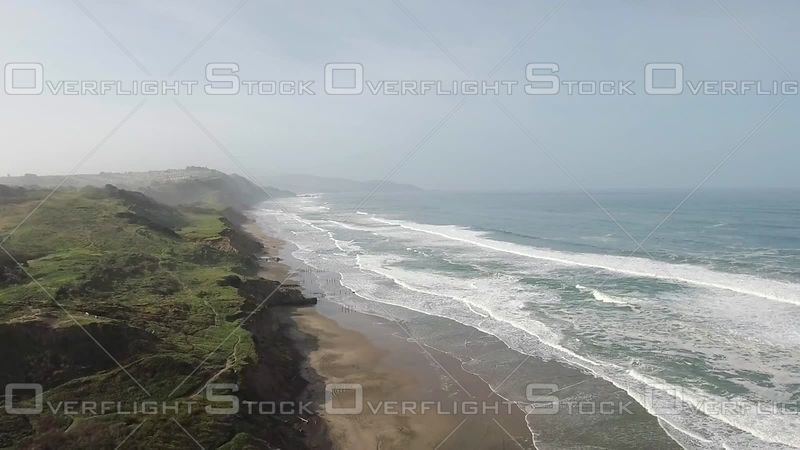 Coastline Over Shore Beach White Waves Hazy Day Summer Forward. California