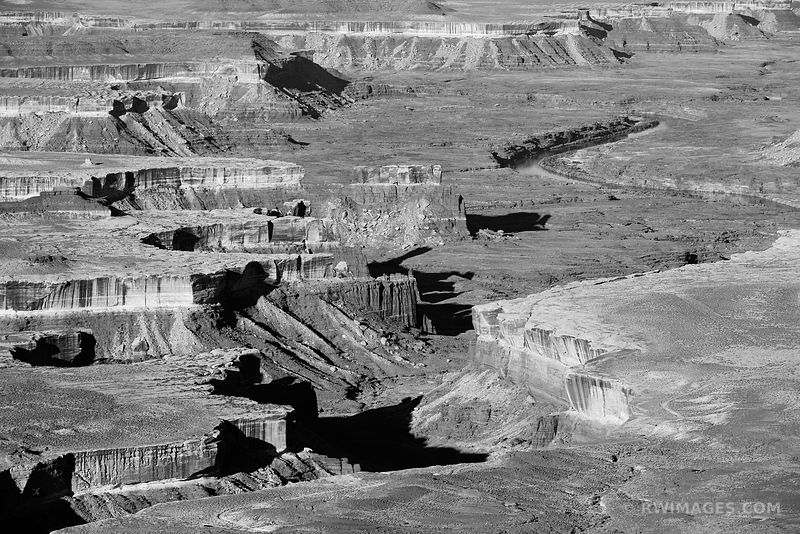GREEN RIVER OVERLOOK CANYONLANDS NATIONAL PARK UTAH BLACK AND WHITE