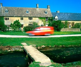 cottage and post van upper slaughter cotswolds gloucestershire england