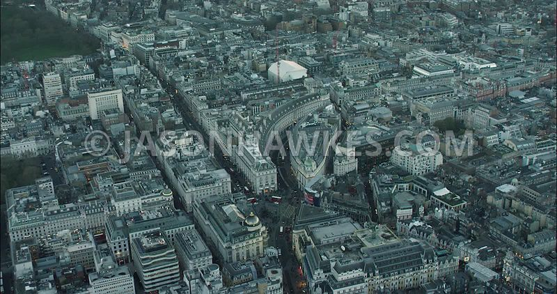 London Aerial Footage of Piccadilly Circus towards Regent Street.