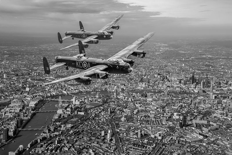 Two Lancasters over London black and white version