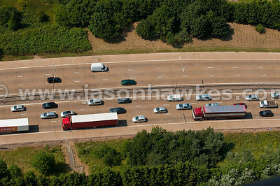 Aerial view of heavy traffic on motorway