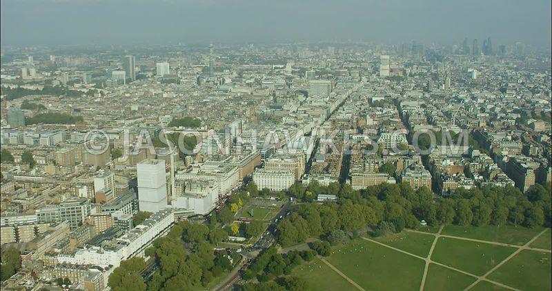 London Aerial Footage of Hyde Park, Marble Arch towards Oxford Street.