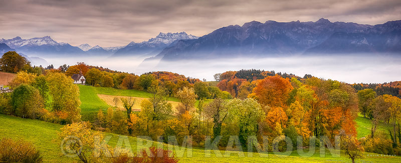 Panorama - Fresh clear view of Léman Region with autumn colors