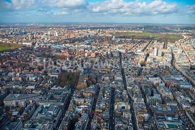 Aerial view of London, Berkeley Square towards Grosvenor Square, Mayfair.
