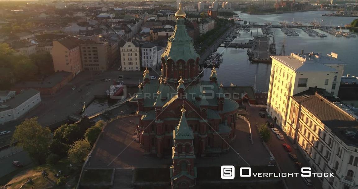Helsinki Orthodox Church, Aerial View Around Uspetski Cathedral and Its Golden Cupole, in the City, on a Sunny Summer Evening Dusk, in Helsingfors, Uusimaa, Finland