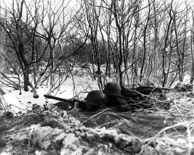 Americans on guard during Ardennes Offensive