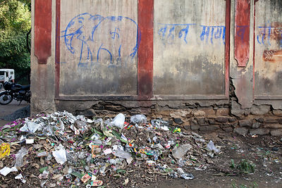 Garbage beneath graffiti of an elephant at the Udaipur city zoo, Rajasthan, India