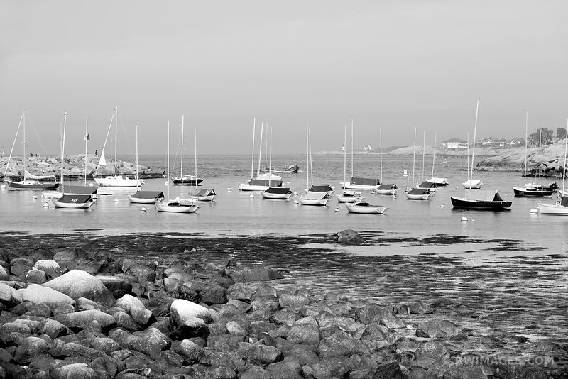SAILBOATS ROCKPORT MASSACHUSETTS HARBOR CAPE ANN BLACK AND WHITE