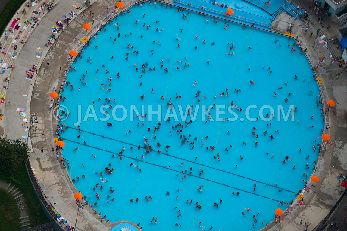 Aerial View Swimming Pool Manhattan New York Jason Hawkes
