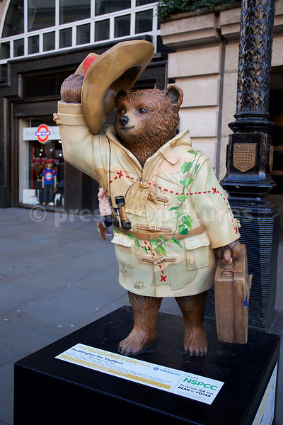 "Statue of Paddington Bear the Explorer on ""The Paddington Trail"" in a  Central London Street"