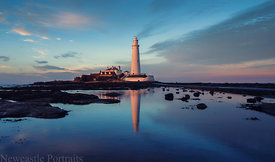 St Marys Lighthouse at sunset.