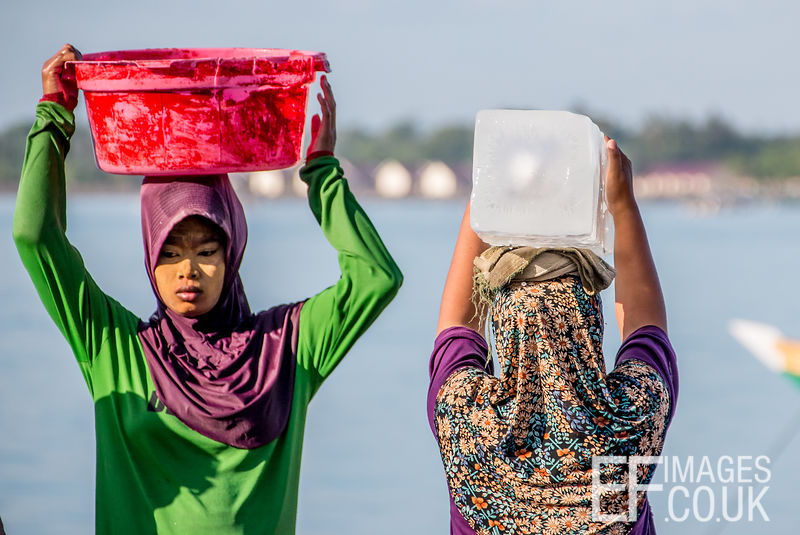 A Woman Carrying An Ice Block On Her Head At The Fish Market