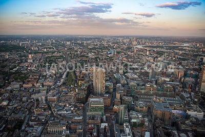 Aerial view of London, Shoreditch with Principal Tower (construction).