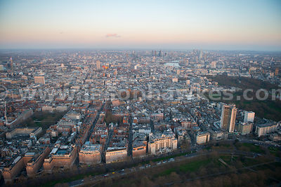 Aerial view of Mayfair at dusk, London