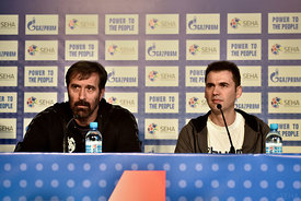 Veselin VUJOVIĆ of PPD Zagreb, Raul GONZALES of VARDAR during the Final Tournament - Final Four - SEHA - Gazprom league, press conference, Croatia, 31.03.2016, ..Mandatory Credit ©SEHA/Nebojša Tejić.