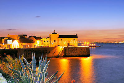 Alcochete at twilight facing the Tagus river. Portugal