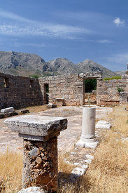 Taxiarches Michael remains of Byzantine, Church, the 6th century Church of Taxiarches Michael (Archangel Michael) Metochi, Vathi valley, Kalymnos, Dodecanese Islands, Greece.