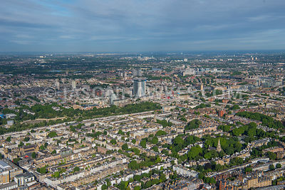 Aerial view of London, The Boltons towards Earl's Court redevelopment.