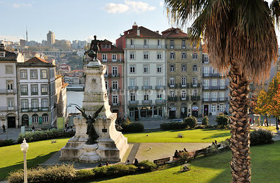 Infante Dom Henrique garden in the Ribeira district, a Unesco World Heritage Site. Oporto, Portugal