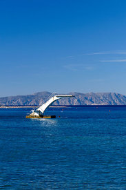 Diving board in sea, Elli Beach, Rhodes Town, Rhodes, Dodecanese Islands, Greece.