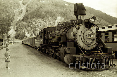 Durango and Silverton steam locomotive 482 at Silverton
