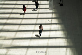 Daily commuters and tourists walking in The Oculus near the World Trade Center, New York City.