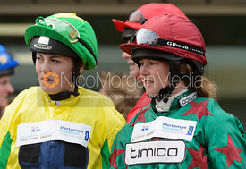 Jasean Spraggett and Madeleine Bunbury in the Parade Ring - Champions Willberry Charity Flat Race - Cheltenham Racecourse, April 20th 2017