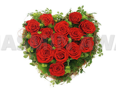Heart bouquet made of red roses