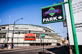 Wrigleyville Sign and Wrigley Field in Chicago