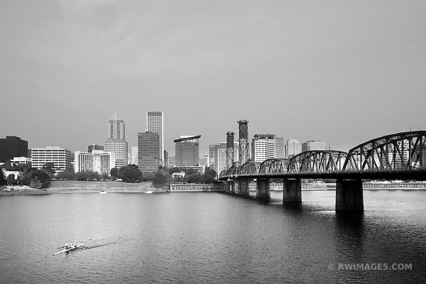 HAWTHORNE BRIDGE PORTLAND OREGON SKYLINE BLACK AND WHITE