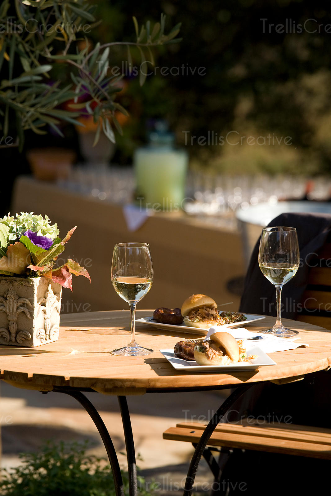 Dining on food and wine at an outdoor bistro