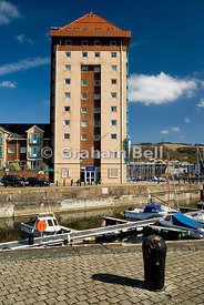 boats and block of flats,swansea maritime quarter swansea south wales