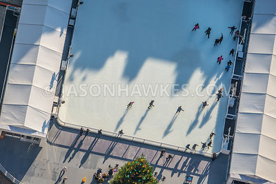 Ice skaters at Somerset House, London. Aerial view