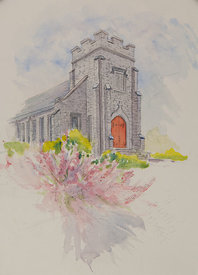 St. Thomas Episcopal Church, original watercolor illustration, 17 x 21 framed