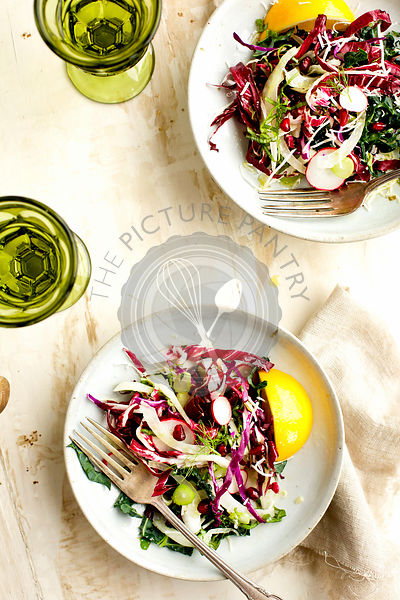Kale Radicchio Salad with Tangerine Vinaigrette. Photographed on a rustic white/gold background.