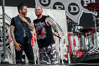 Riki Rachtman and Ivan Moody on stage at Chicago Open Air