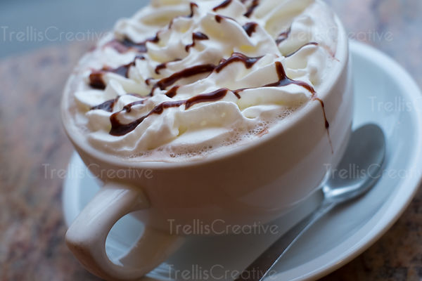 A warm inviting cup of hot cocoa with whipped cream and chocolate drizzle