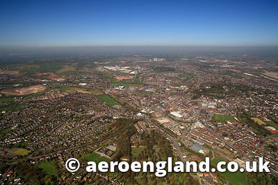 aerial photograph of Newcastle under Lyme   Staffordshire England UK