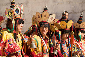 A prayer ceremony for the dead at Gaden Monastery in Lhasa, Tibet