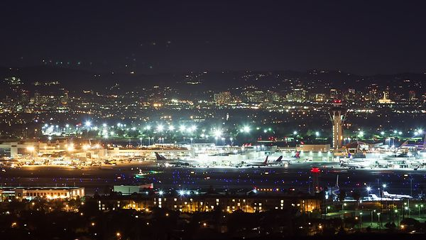 Close Up: Panning Landings & Takeoffs, LAX Tarmac At Night