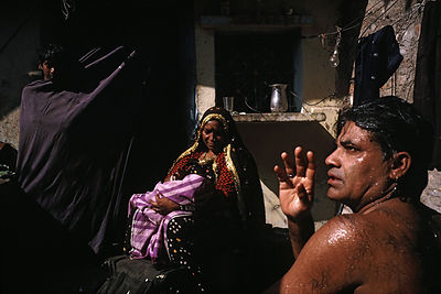 Sravan Kumar washes before a performance