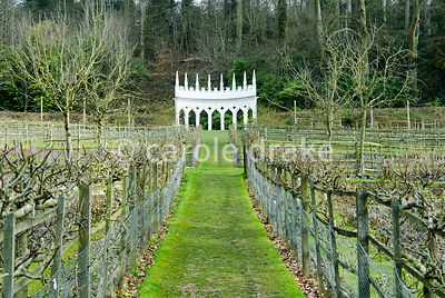 View through the geometric kitchen garden to the Exedra. Espaliered apples and pears line the boundaries. Painswick Rococo Garden, Painswick, Glos, UK
