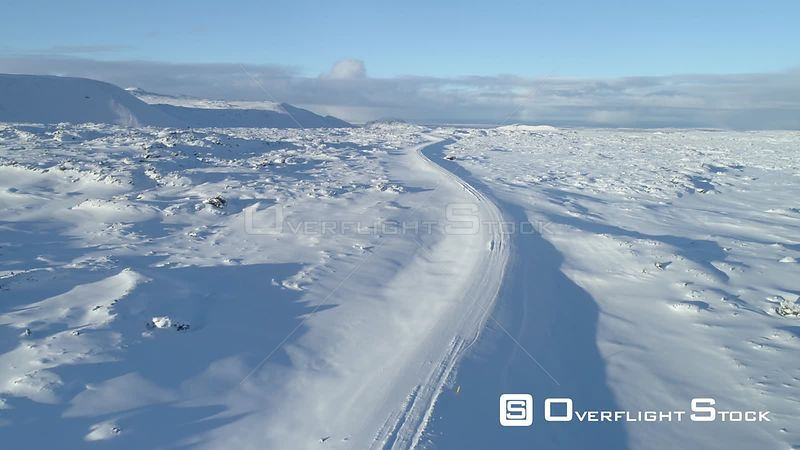 Over Winding Snowy Lava Field Mountain Road Iceland Day
