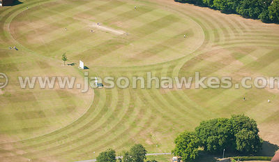 Aerial view of cricket pitches