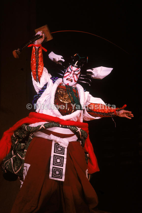 Scene from the Shibaraku, a popular classic tale of good overcoming evil, performed at the the Kabukiza Theater, Tokyo. The kabuki was the theater of the masses during the Edo period, but today is mostly the provinence of aficionados and the curious.