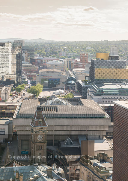 The old library of Birmingham (now removed). Aerial photograph of Birmingham City Centre, England.